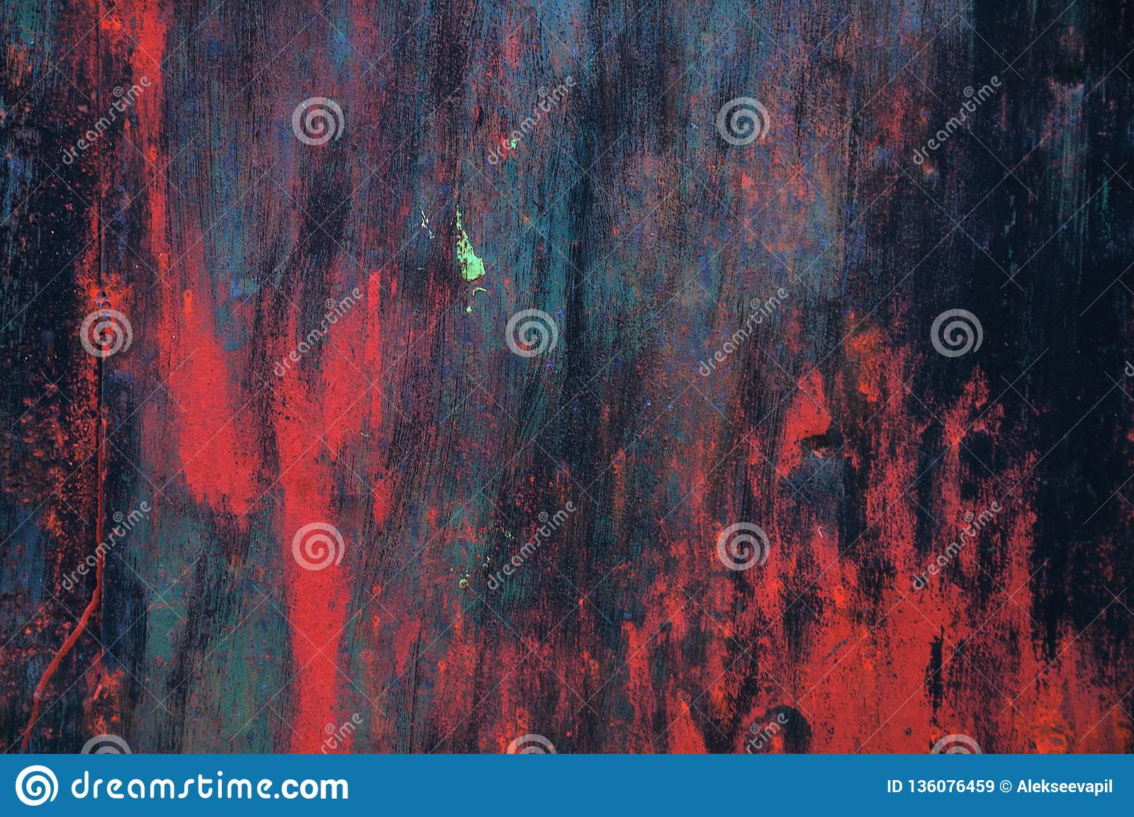 Multicolored texture abstract brush strokes. Dark red background brush strokes