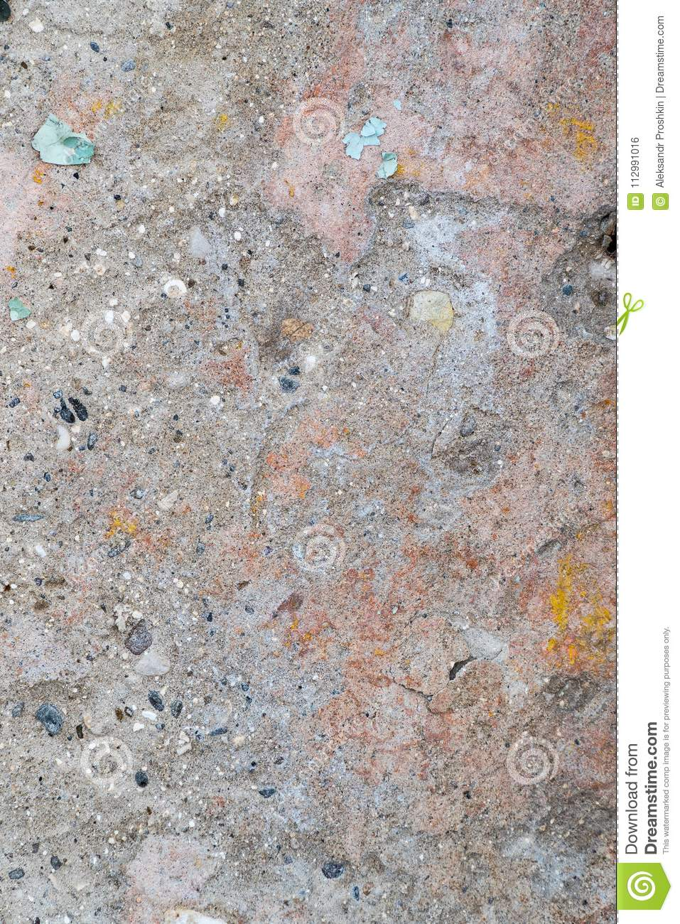 Multicolored texture on the cement wall