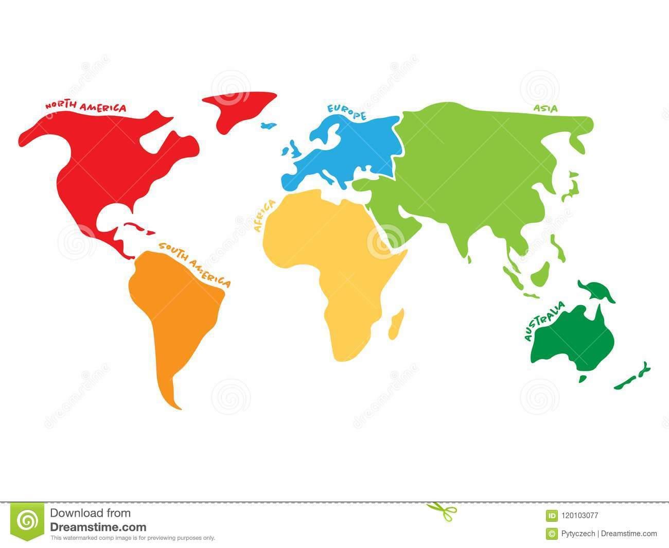 Multicolored World Map Divided To Six Continents In Different Colors