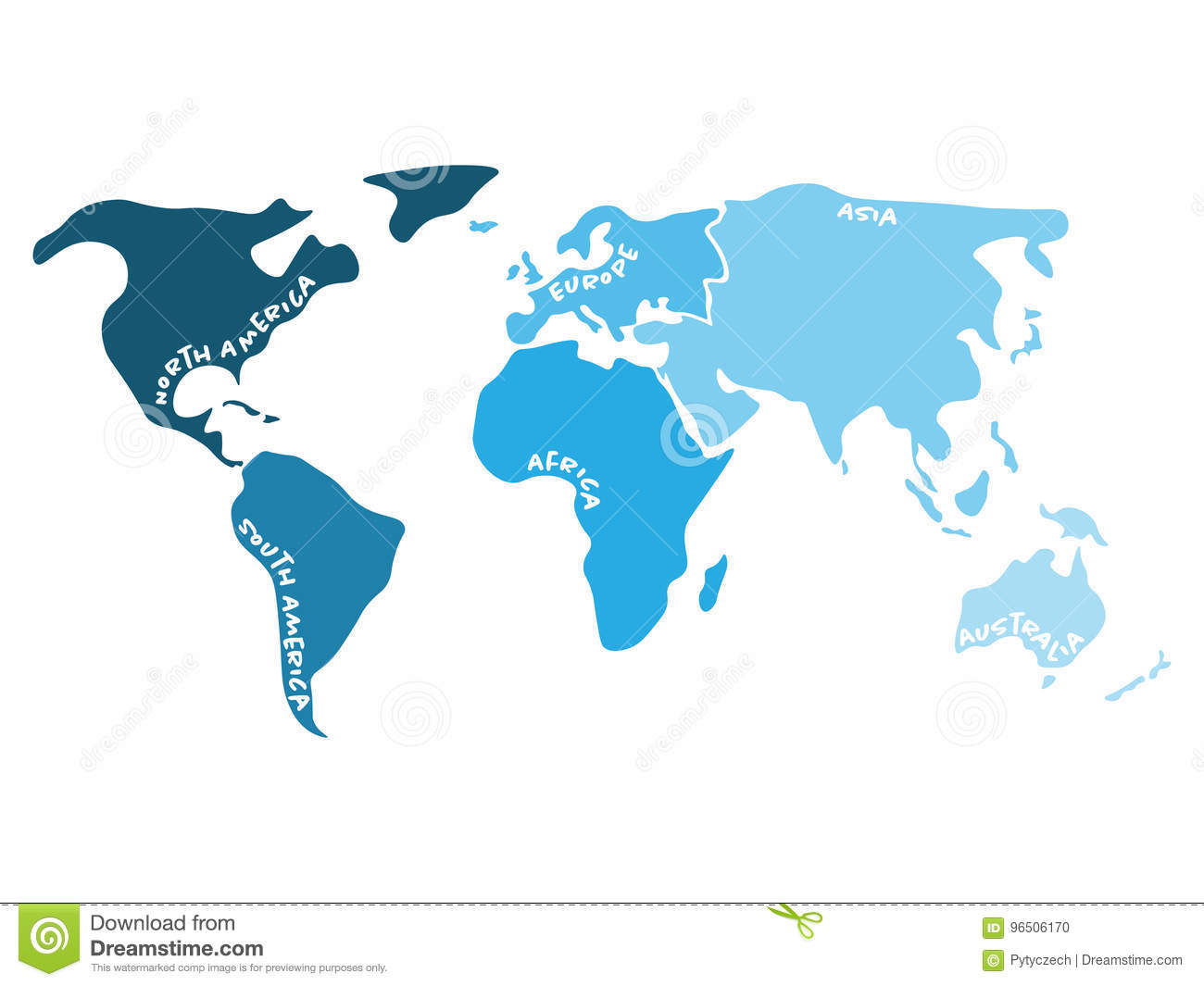 Multicolored World Map Divided To Six Continents In S   North