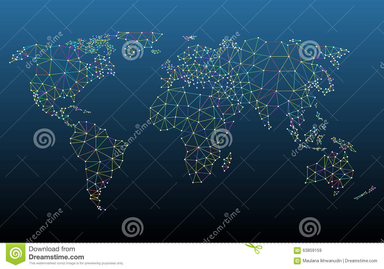 Multicolored world map network mesh stock vector illustration of multicolored world map network mesh gumiabroncs Images