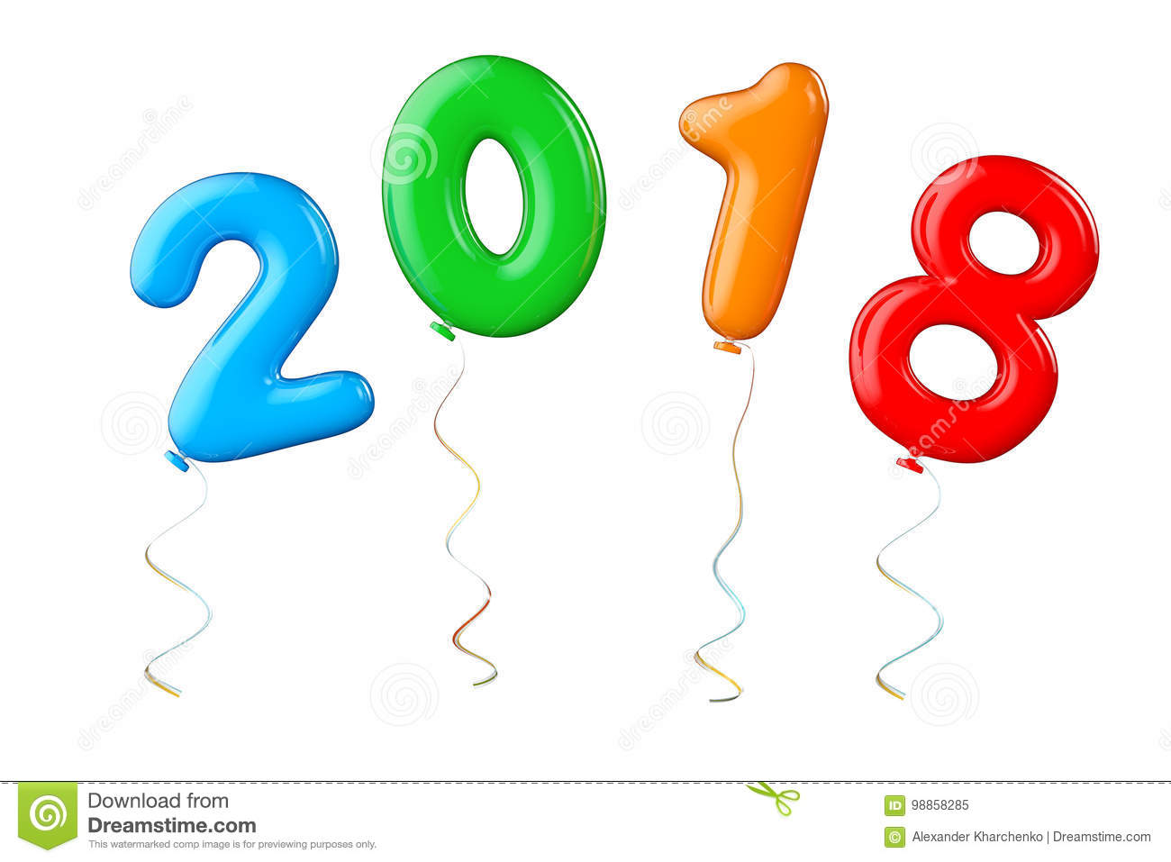 multicolour balloons as 2018 new year sign 3d rendering