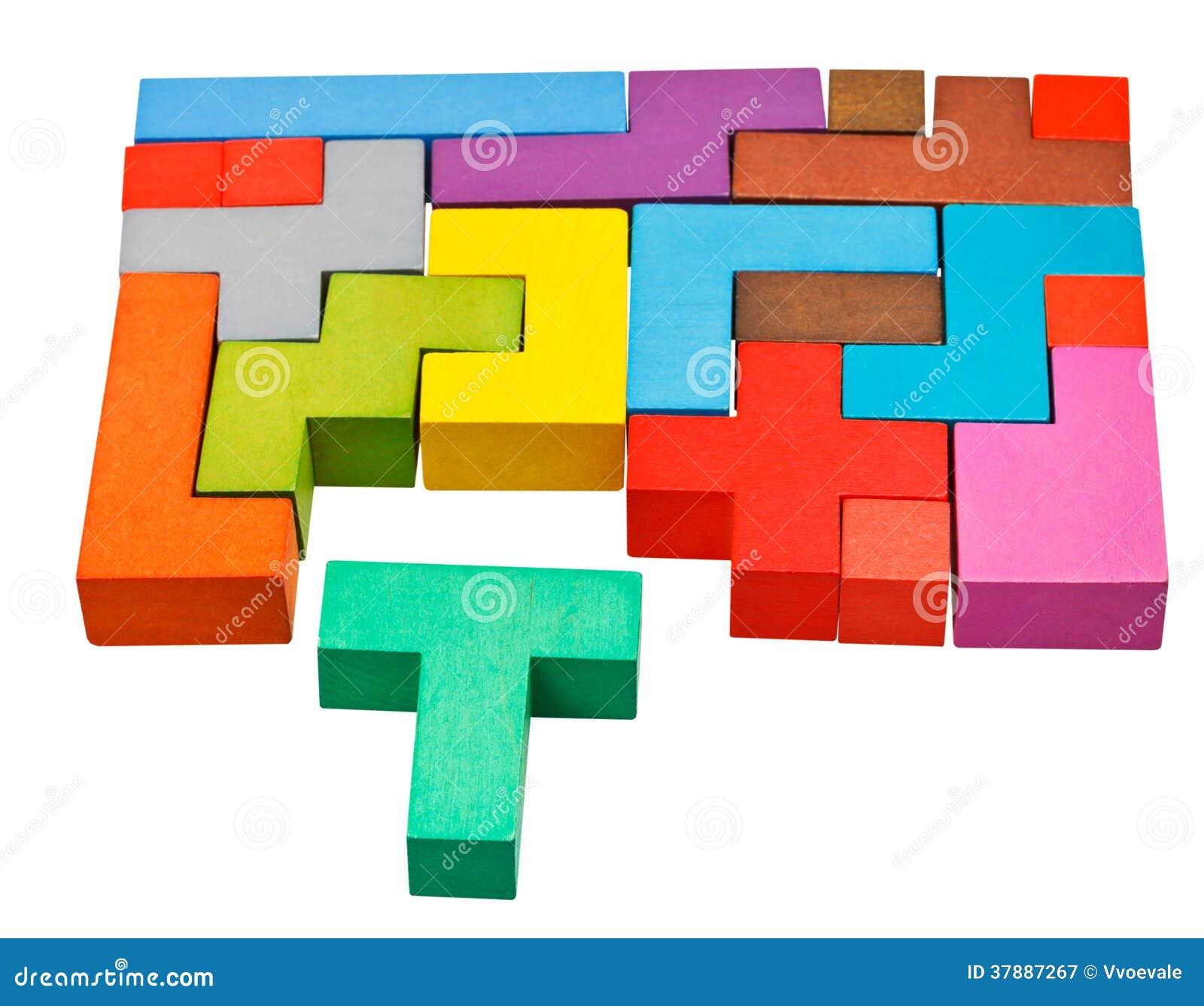 Multicoloured raadselblokken en t-Vormig stuk