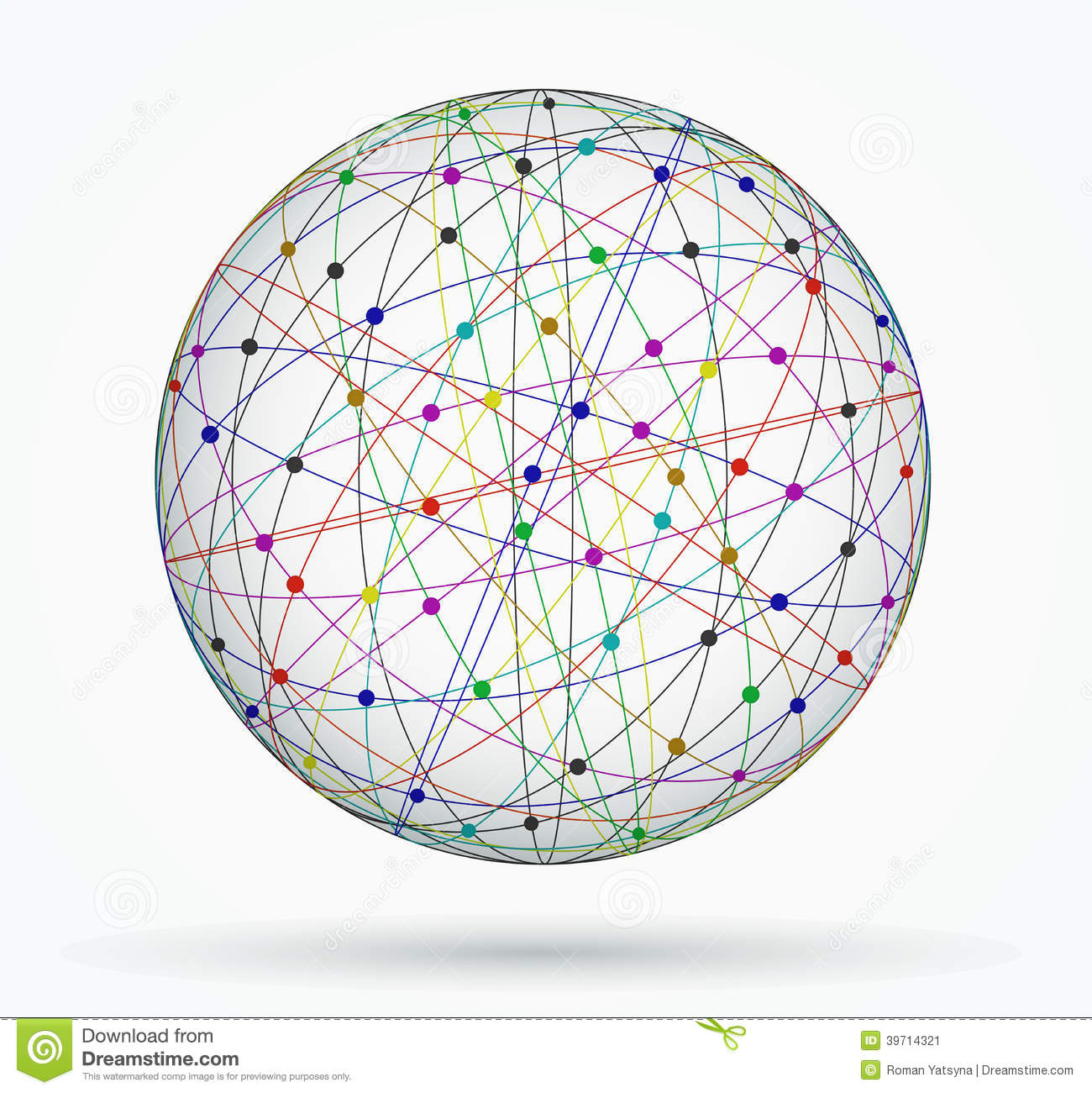 Multicoloured Sphere Of Global Digital Connections