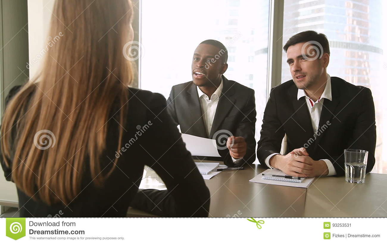 Multicultural Businessmen Conducting Job Interview, Asking Questions To  Female Applicant Stock Video   Video Of Company, Employer: 93253531