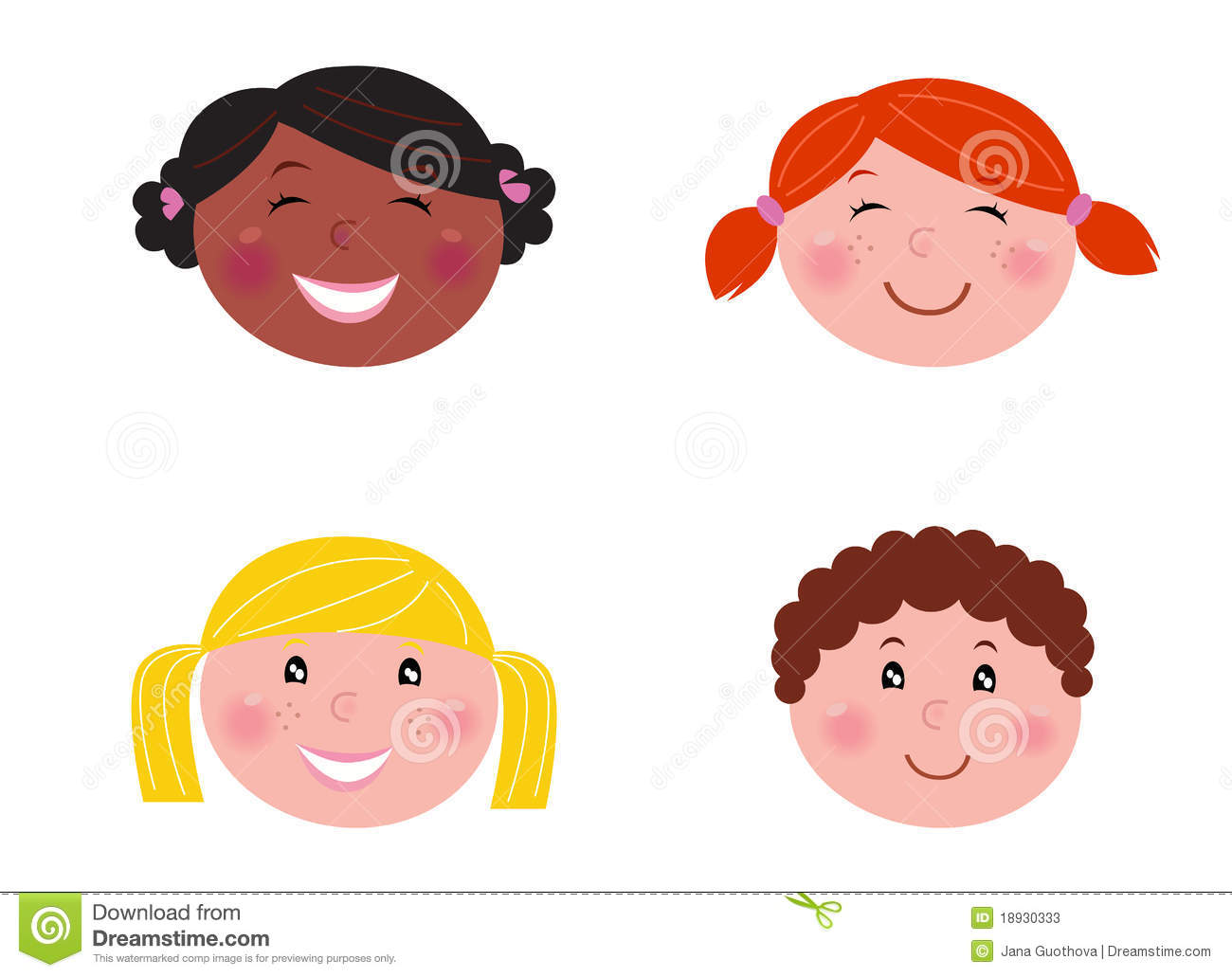 Stock Photos: Multicultural children heads - isolated on ...