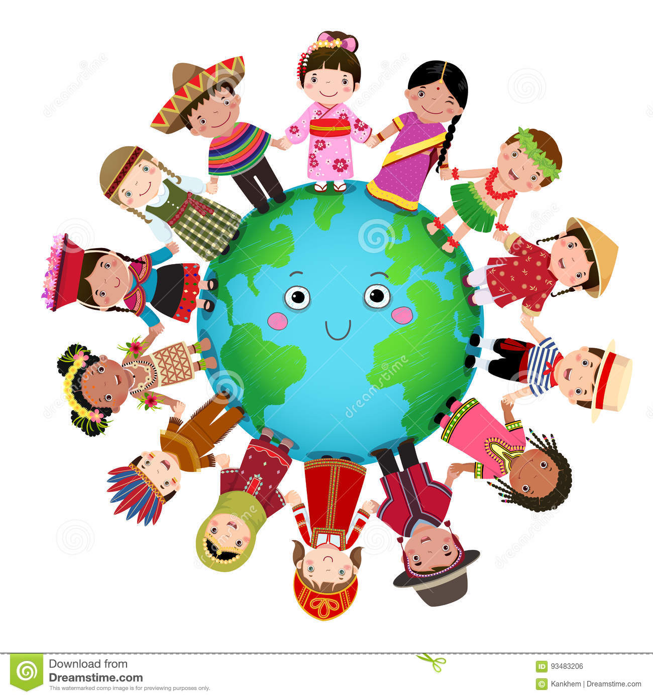 Multicultural: Multicultural Children Holding Hand Around The World