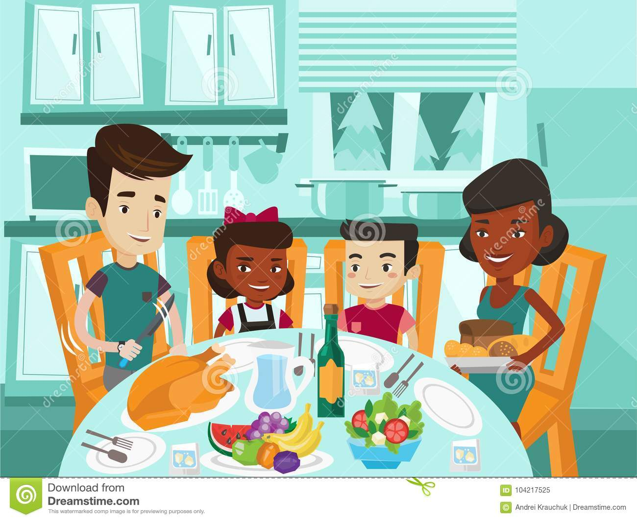 Multicultural Family Celebrating Thanksgiving Day. Stock Vector ...