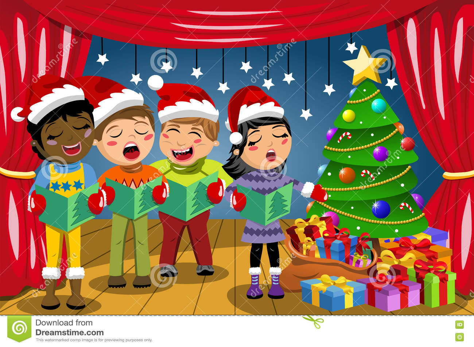 Multicultural Kids Wearing Xmas Hat Singing Christmas Carol Nativity ...