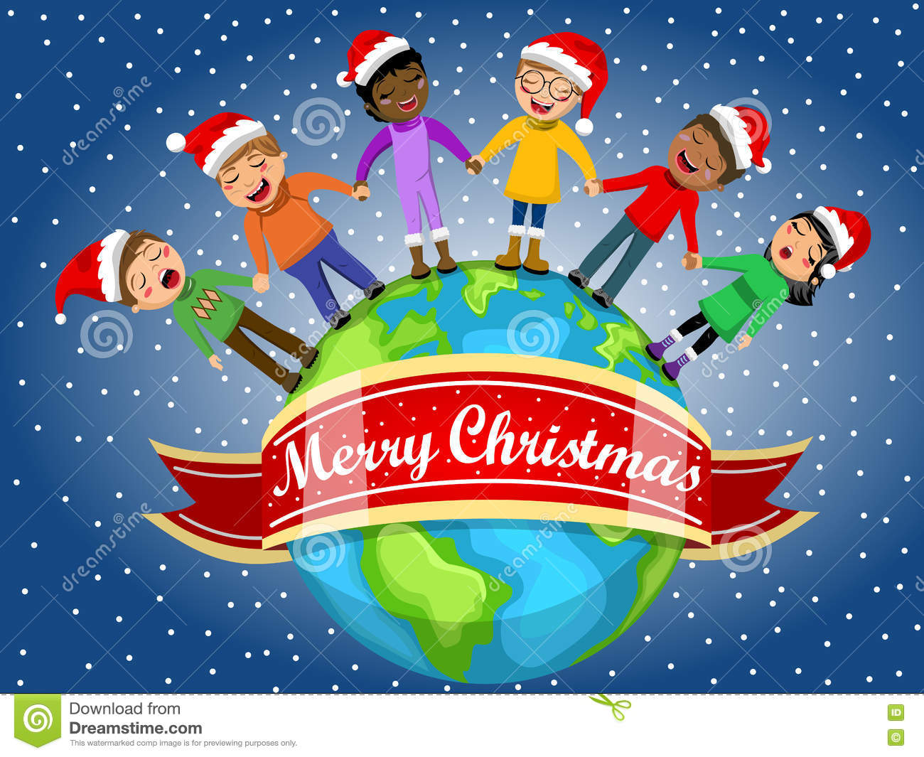 c2fad850fcab3 Multicultural kids wearing xmas hat singing Christmas carol hand in hand on  Earth. More similar stock illustrations