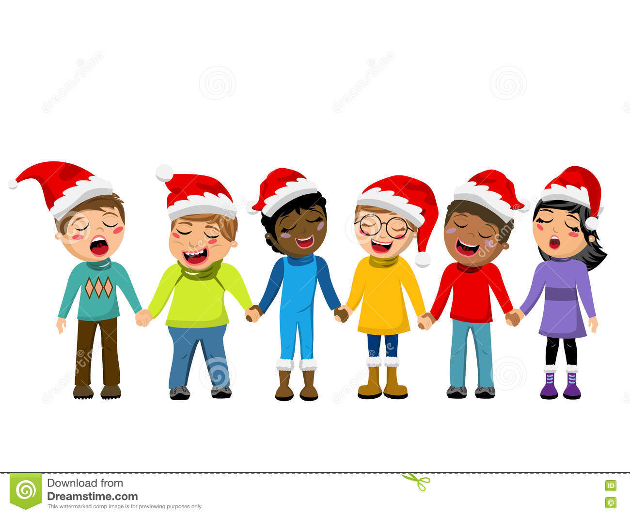 b0f2ba10aa94c Multicultural kids wearing xmas hat singing Christmas carol hand in hand  isolated. More similar stock illustrations