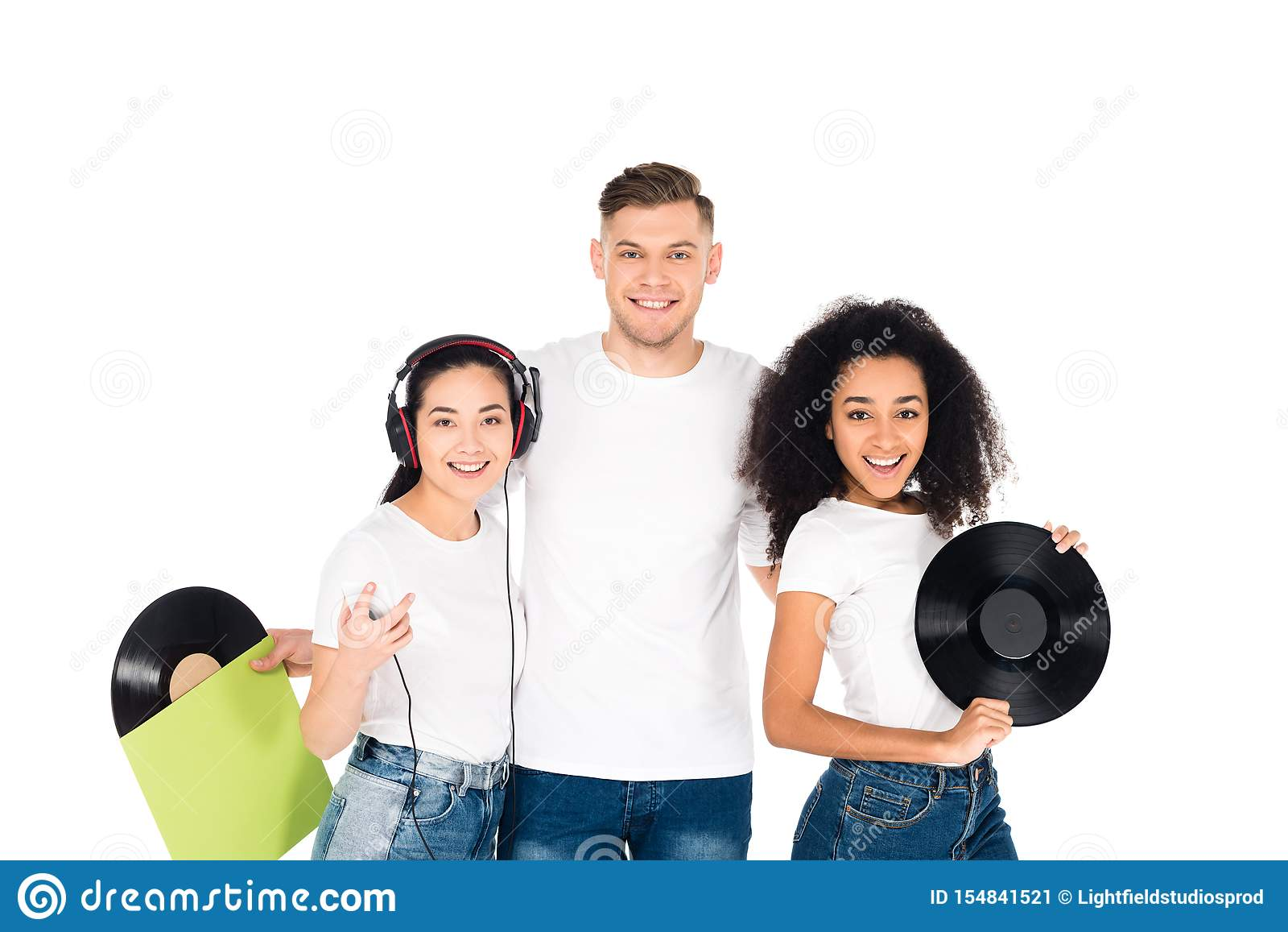 multicultural young people hugging and holding vinyl records isolated