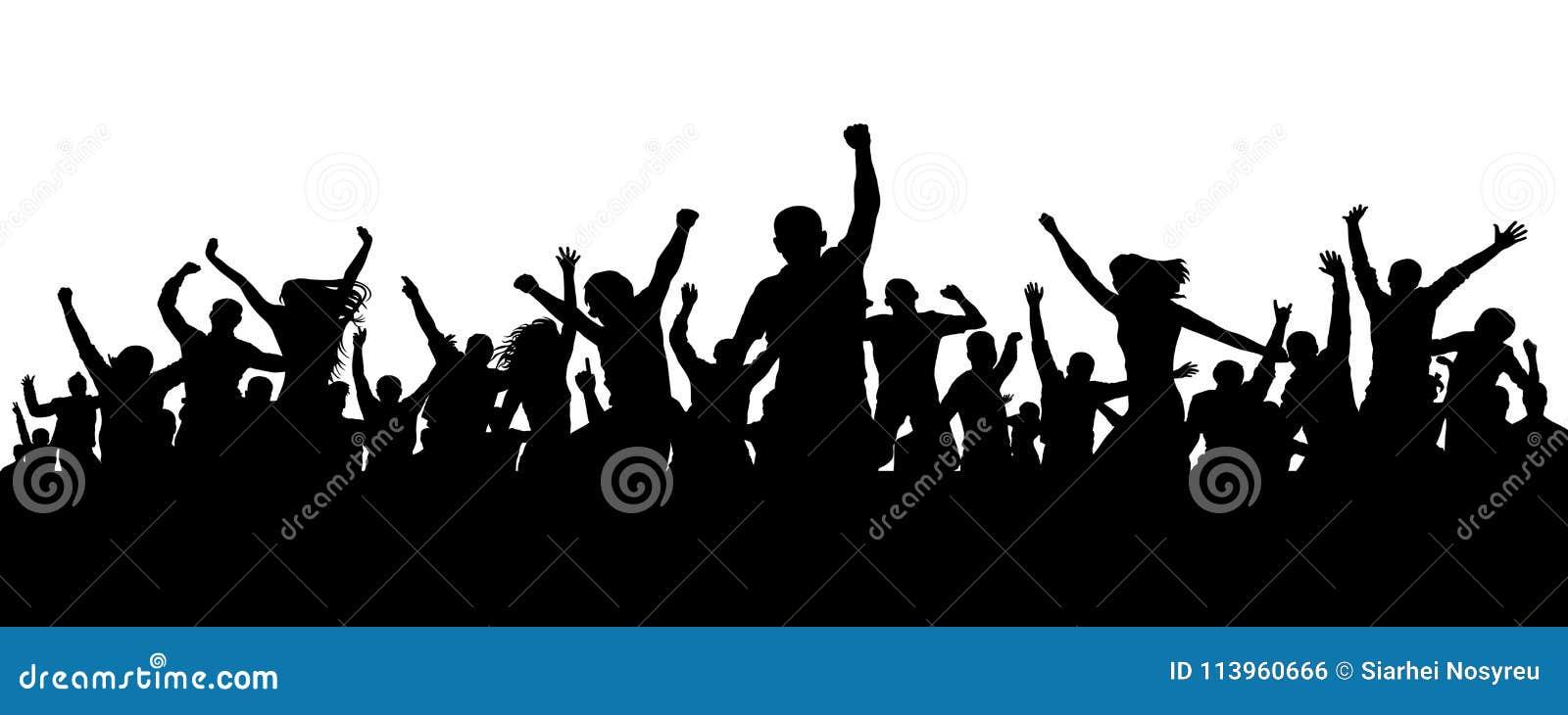 Multidão alegre Silhueta alegre dos povos da multidão Multidão do aplauso Amigos felizes do grupo dos jovens que dançam no partid