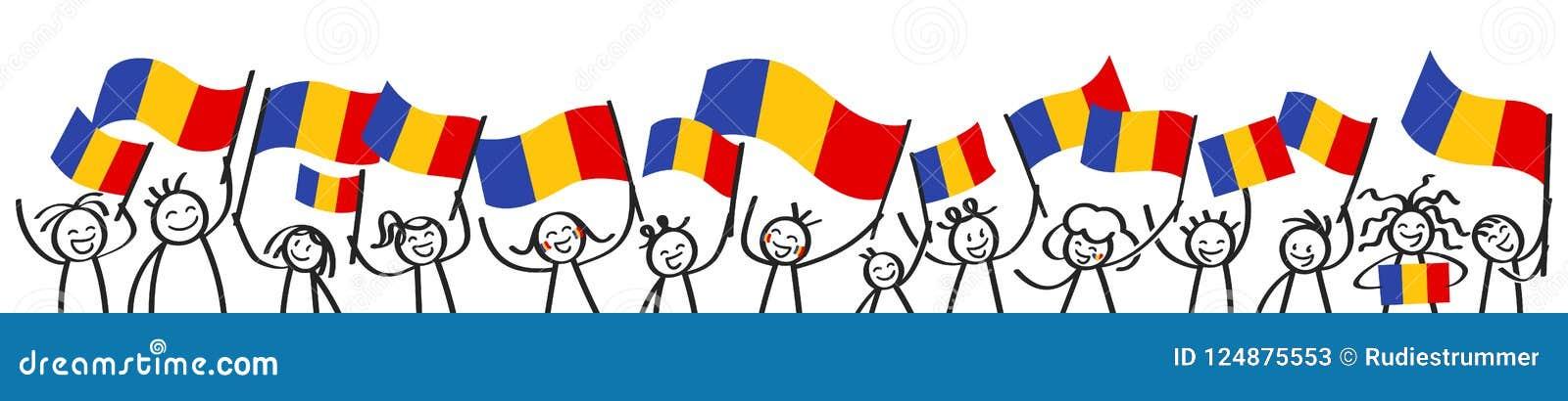 A multidão Cheering de vara feliz figura com as bandeiras nacionais romenas, suportes de sorriso de Romênia, fãs de esportes