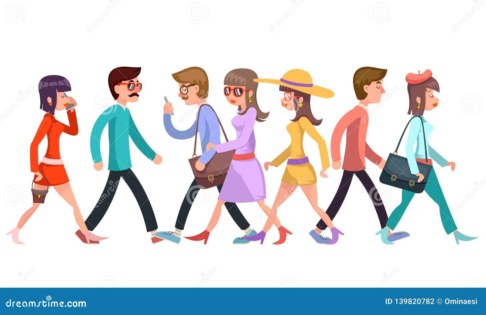 A multidão de caráteres de passeio elegantes dos jovens anda a ilustração lisa do vetor do projeto do projeto dos desenhos animad