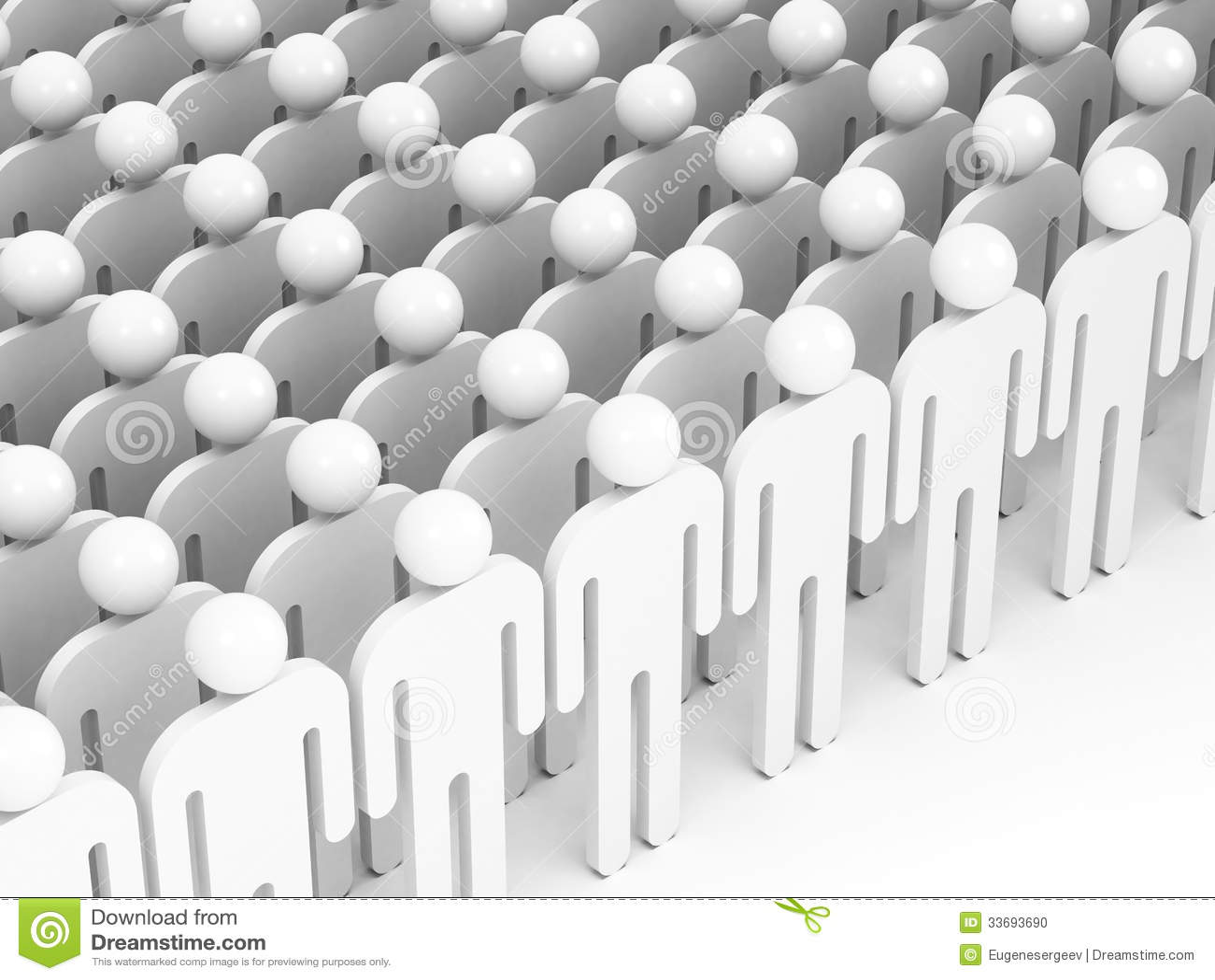 Multidão de povos brancos abstratos. 3d rendem