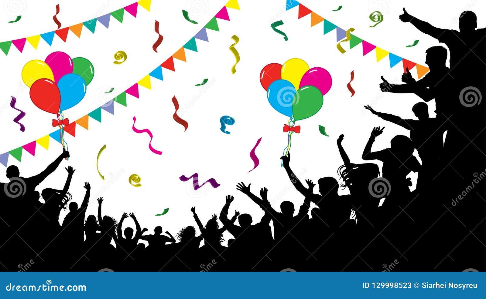 Multidão de povos do divertimento no partido, feriado Povos alegres que têm a comemoração do divertimento