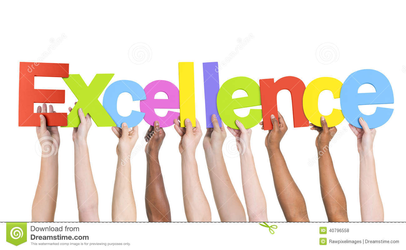 Multiethnic Arms Raised Holding Text Excellence Stock ...