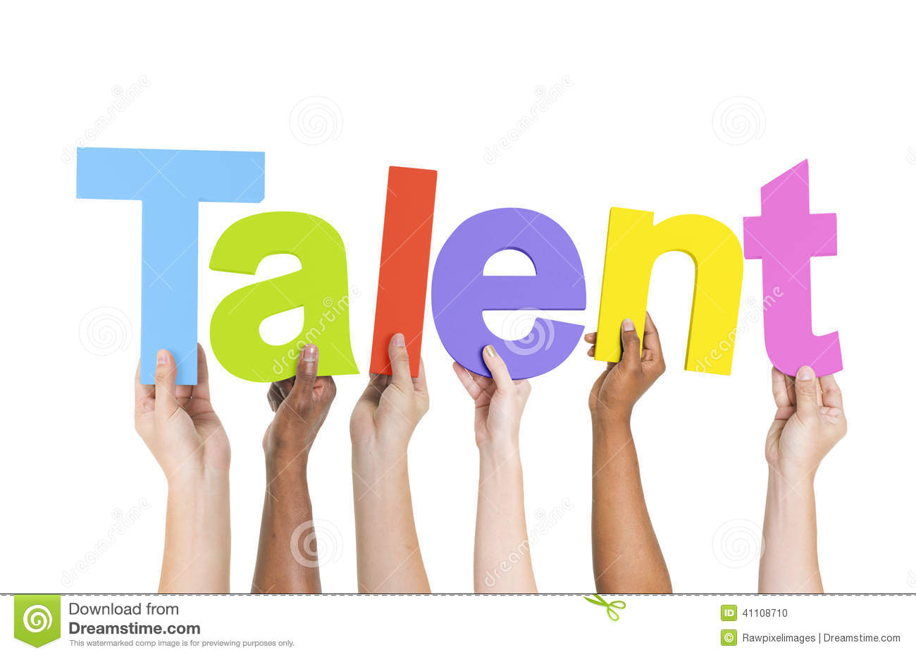 Multiethnic Arms Raised Holding Text Talent Stock Photo ...
