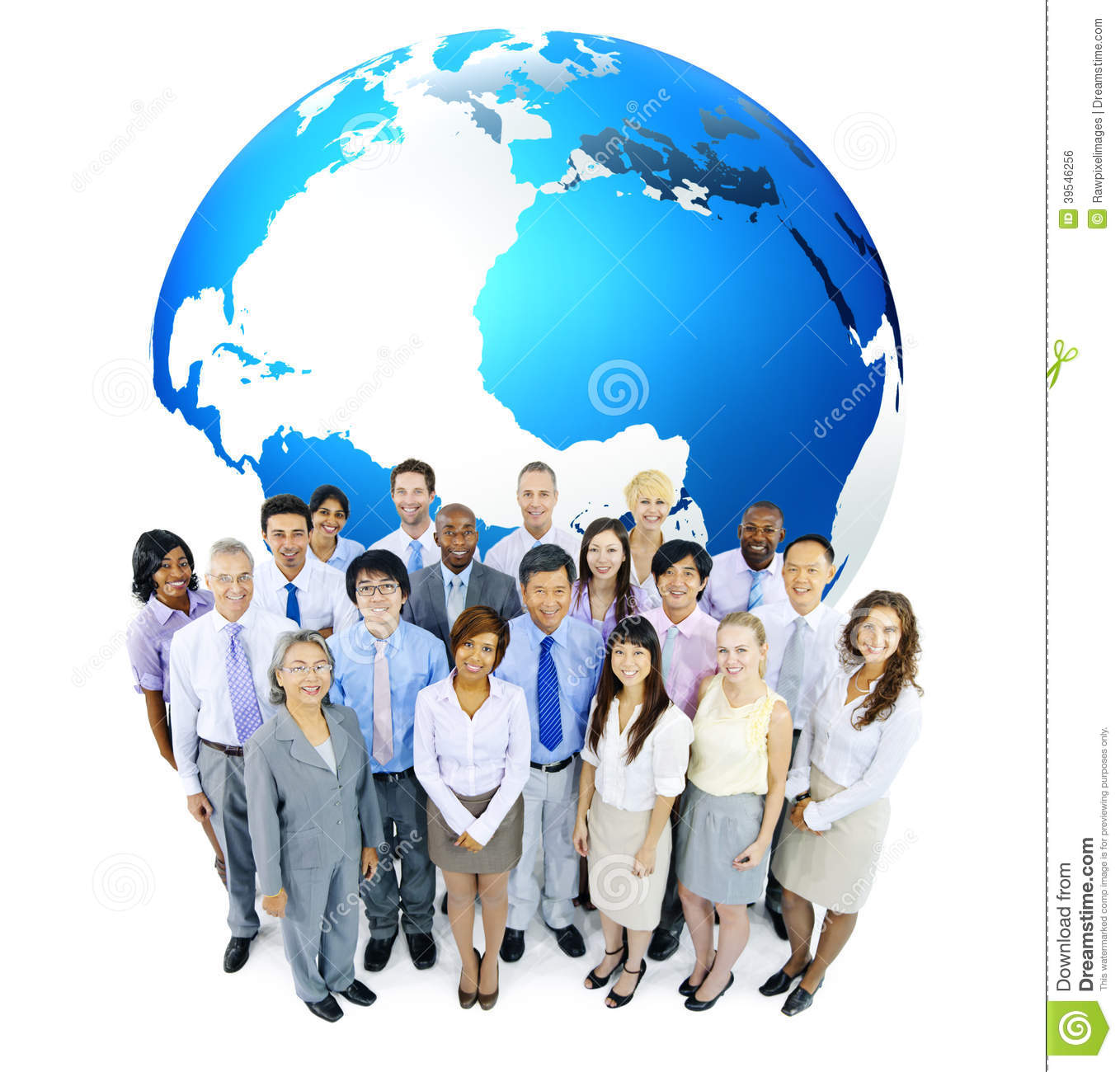 Multiethnic Business People With The Globe Stock Photo