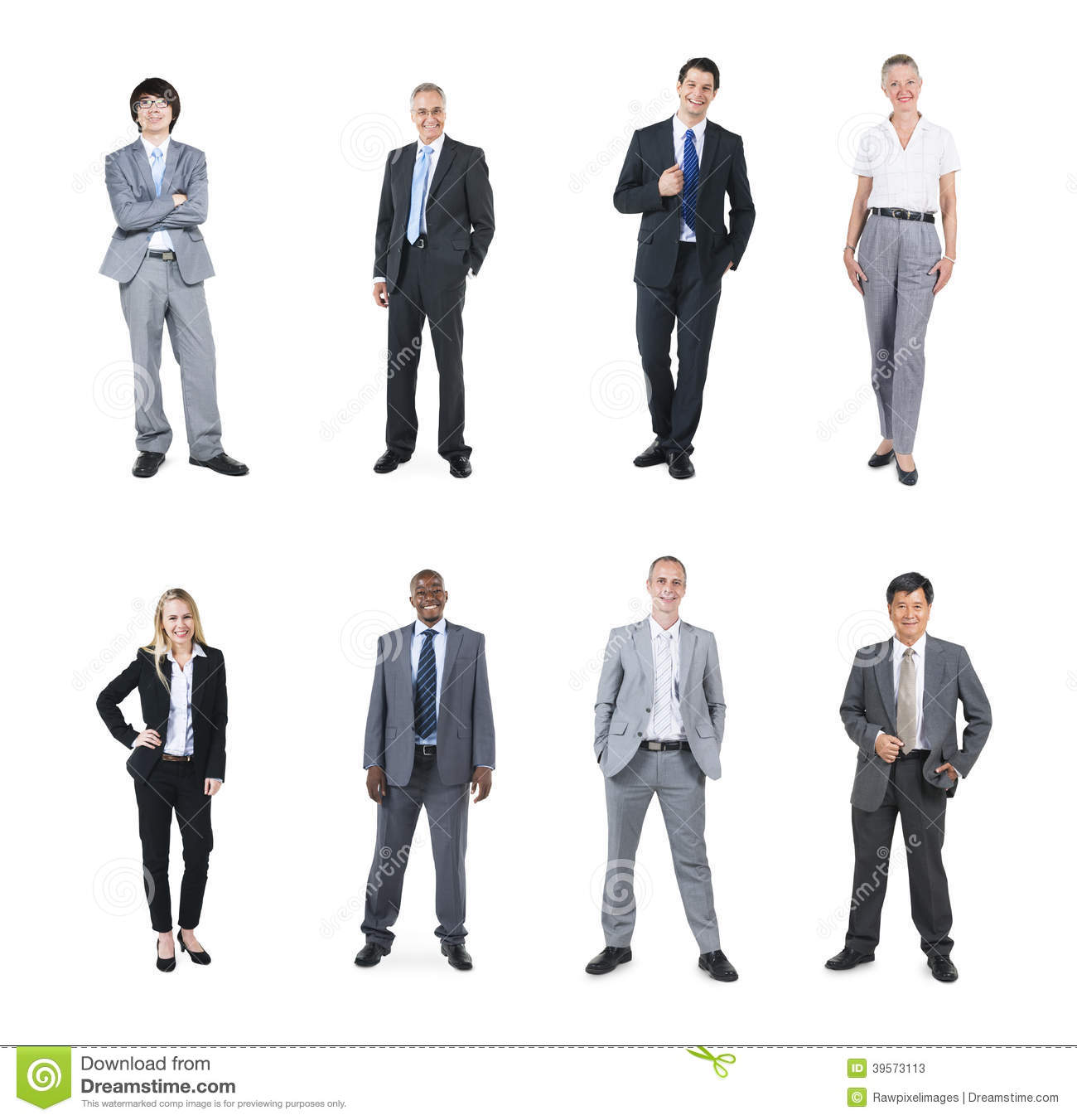Multiethnic Business People On White Background Stock