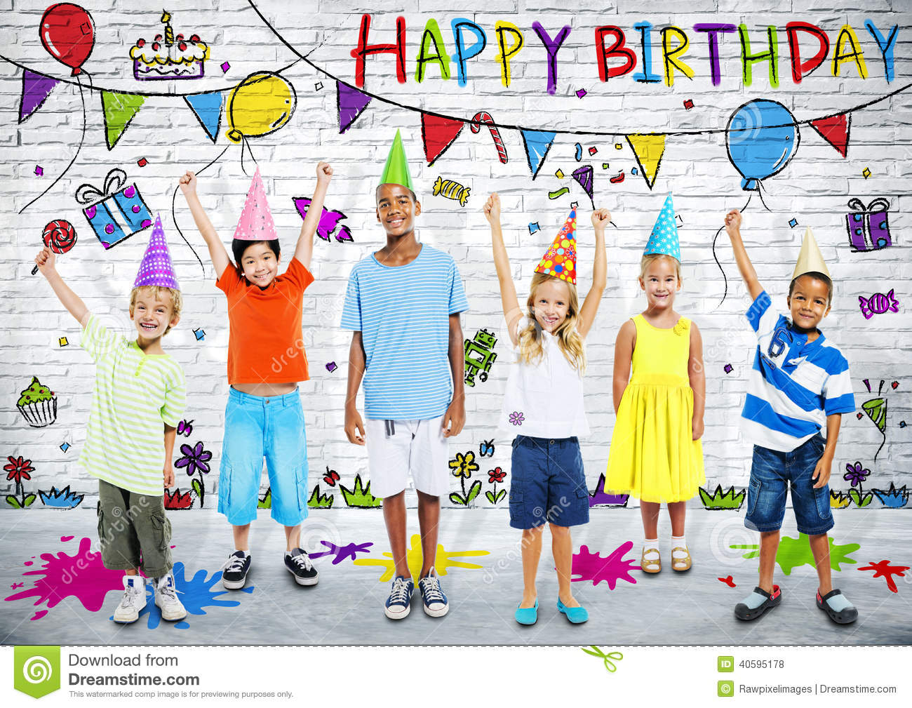 Multiethnic Children Celebrate Happy Birthday Party Stock