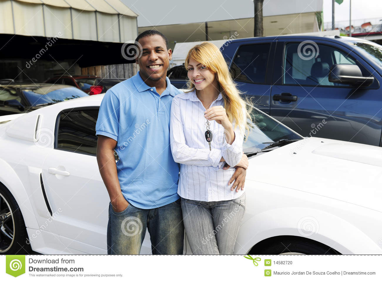 multiethnic couple buying a new car stock photo image 14582720. Black Bedroom Furniture Sets. Home Design Ideas