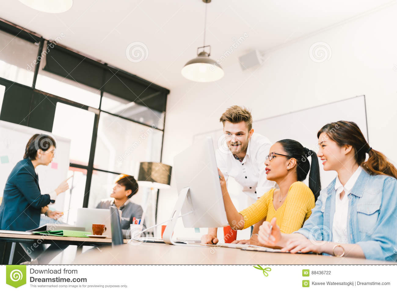 Multiethnic diverse group of people at work. Creative team, casual business coworker, or college students in brainstorm meeting