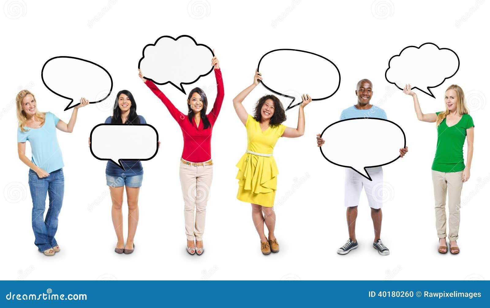 multiethnic diverse people holding blank speech bubbles