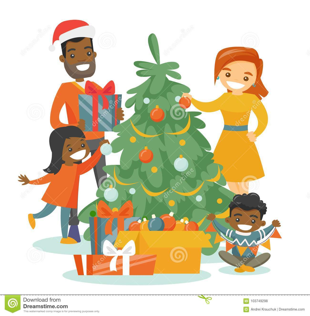 multiethnic family decorating the christmas tree