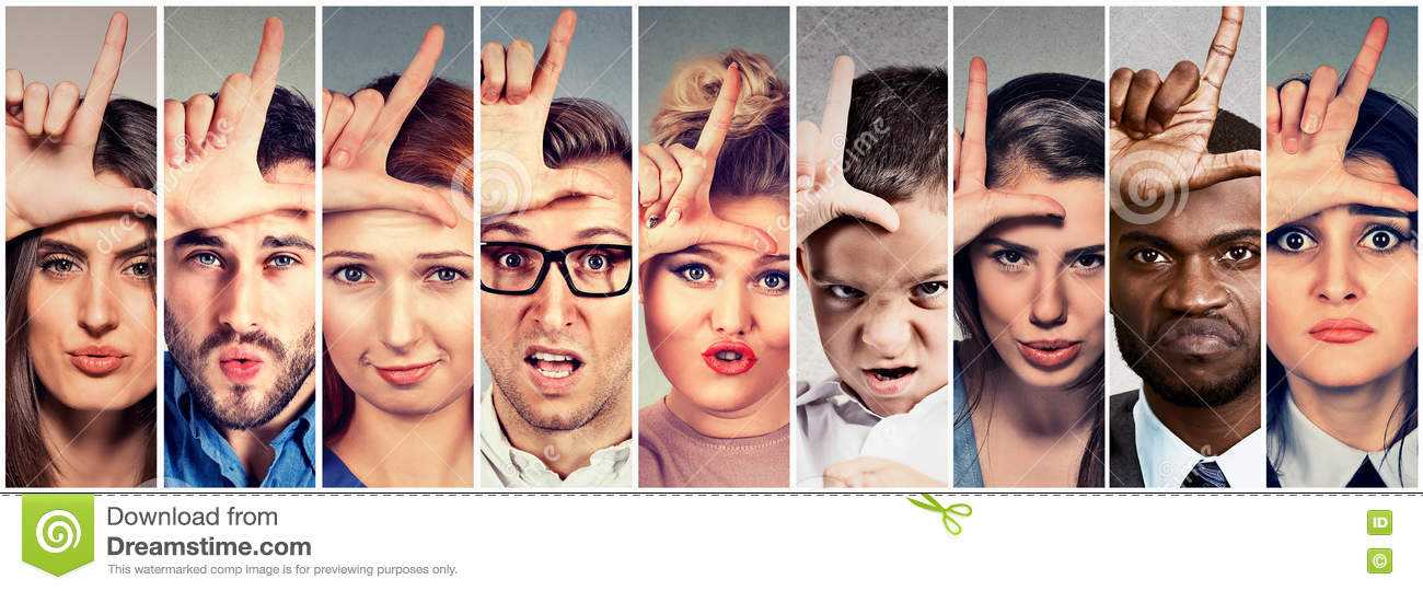 Multiethnic group angry bully people men women giving loser sign
