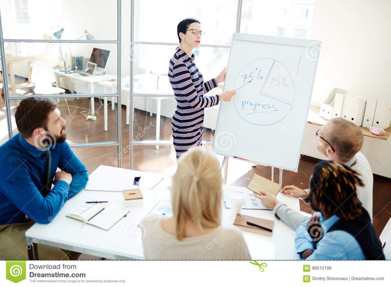 Multiethnic Group Gathered In Boardroom Stock Image