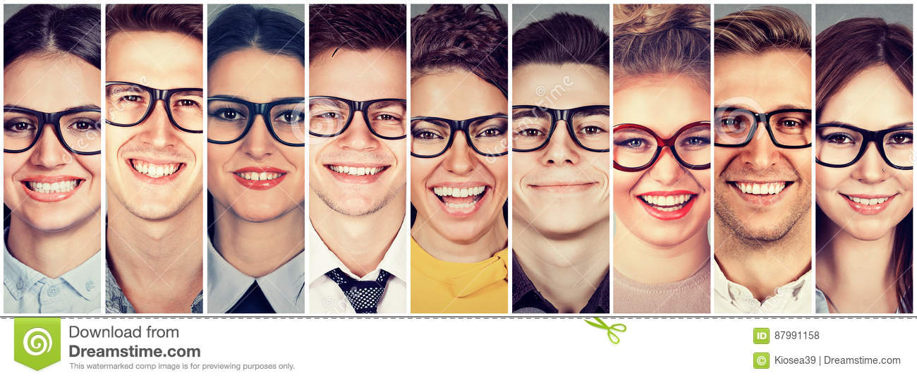 Multiethnic group of happy people in glasses men and women