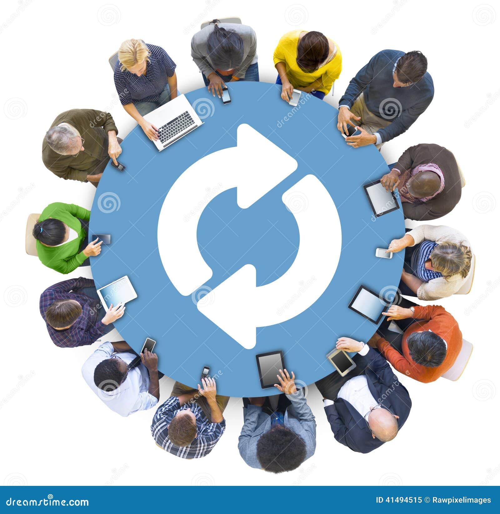 Multiethnic Group of Peolple Social Networking