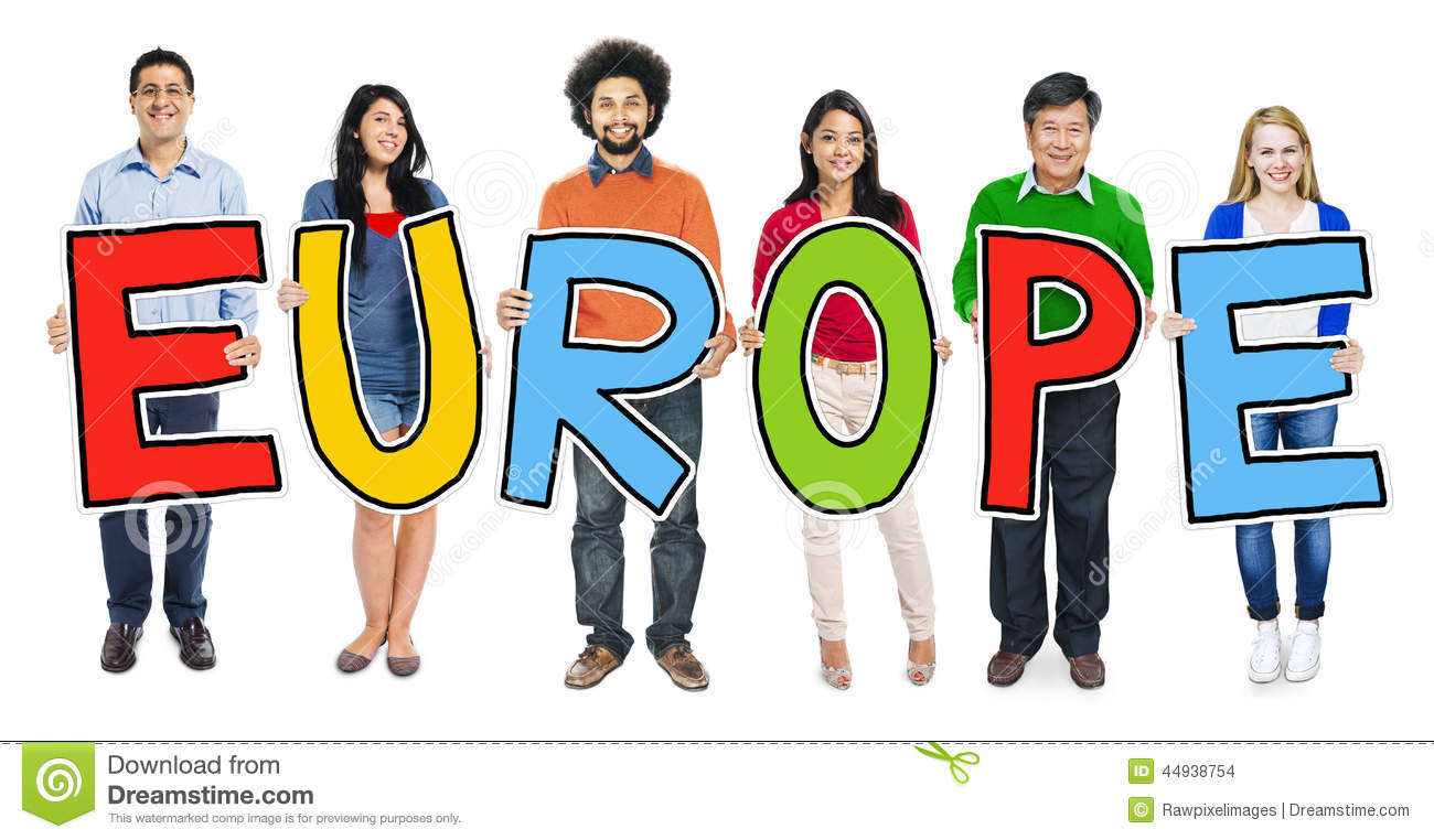 Multiethnic Group Of People Holding Letter Europe Stock Photo - Image ...