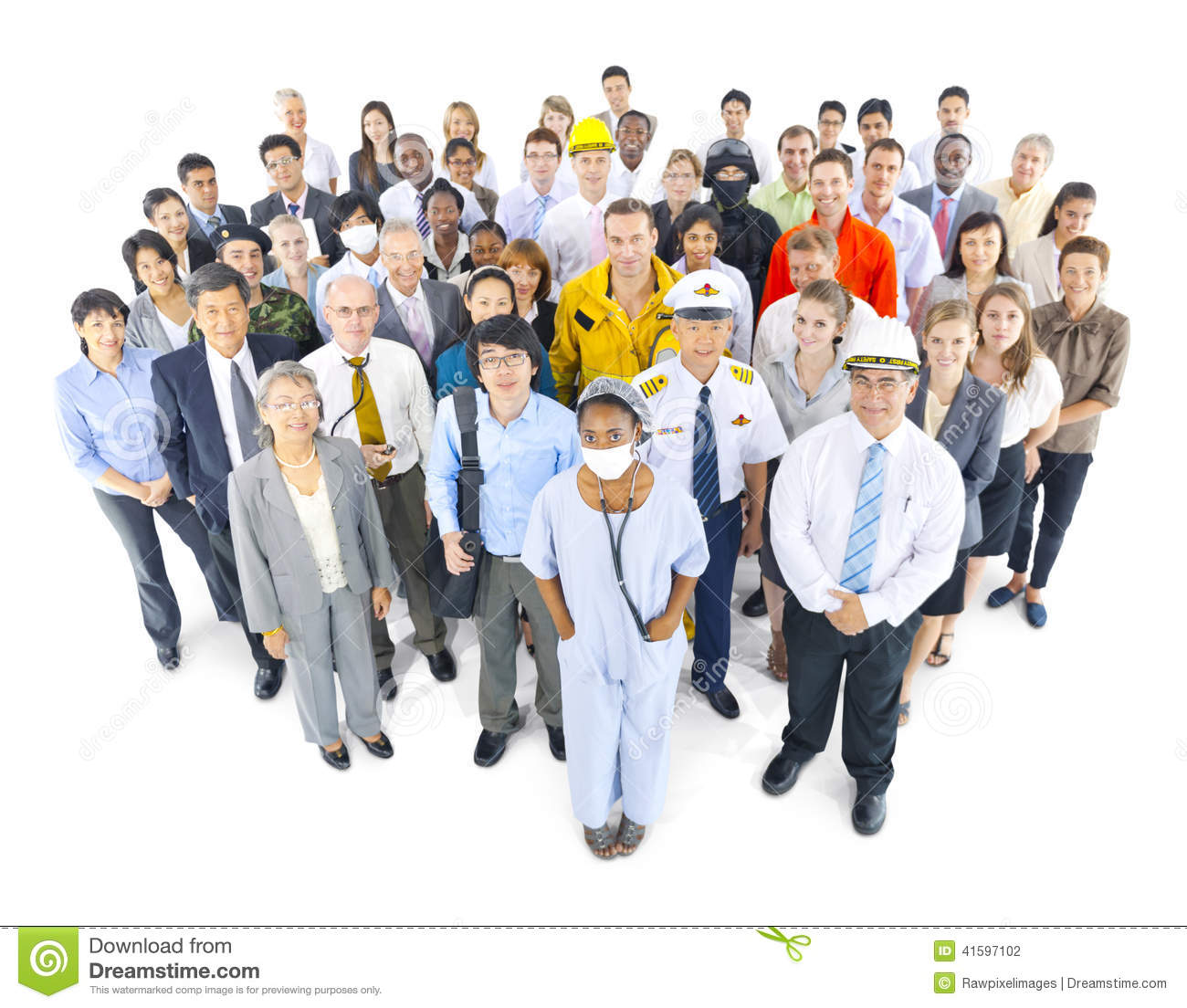 Multiethnic Group Of People In Various Occupations Stock