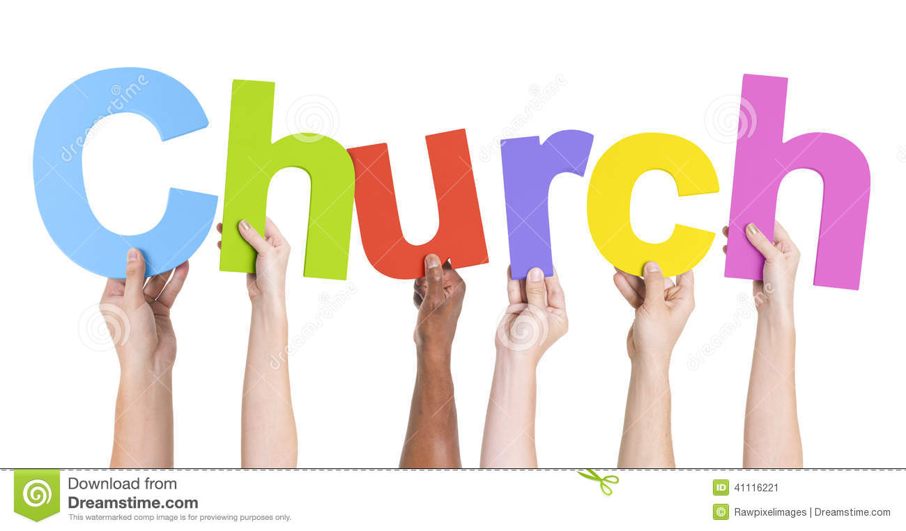 Multiethnic Hands Holding Text Church Stock Photo - Image ...