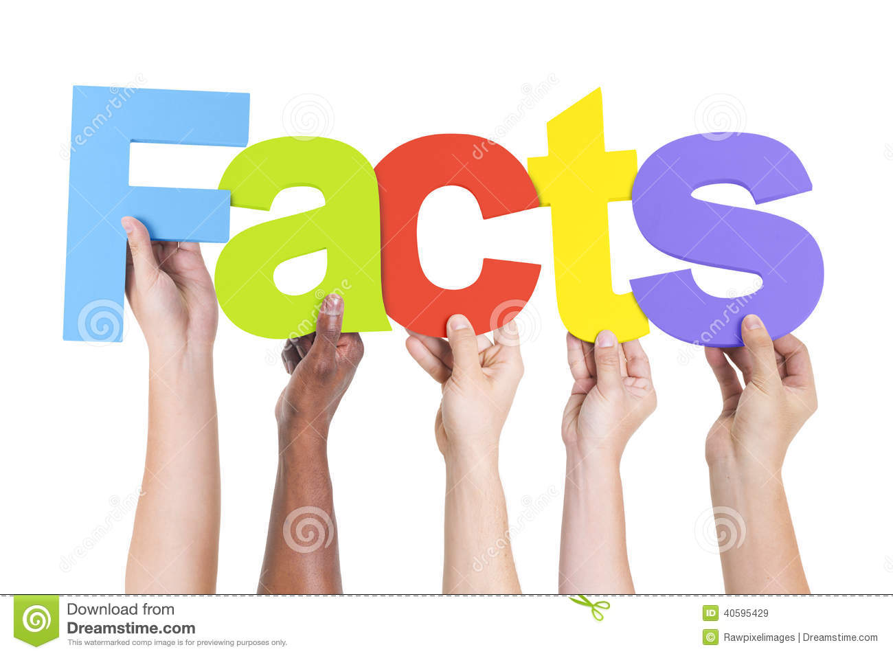 Multiethnic Hands Holding Text Facts Stock Image - Image ...