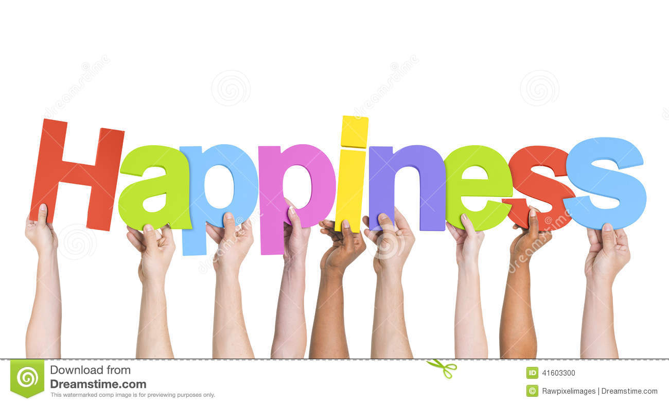 Multiethnic Hands Holding Text Happiness Stock Photo ...
