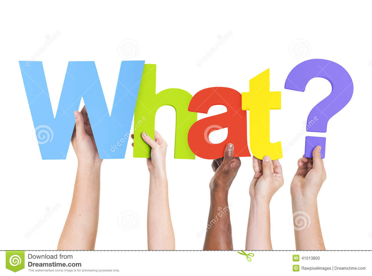Multiethnic Hands Holding Text What With Question Mark ...