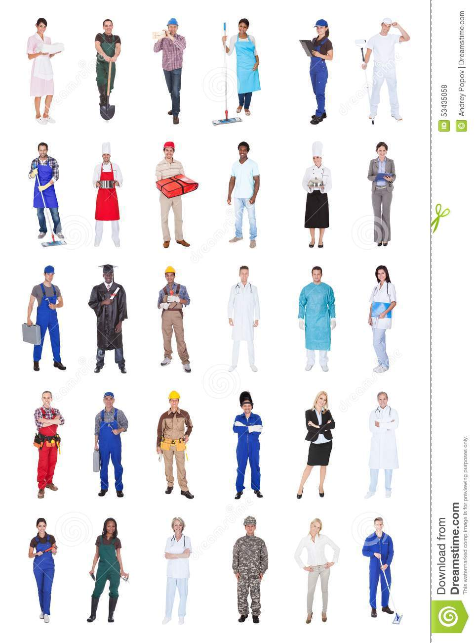 People Occupations Jobs And Community At: Multiethnic People With Various Occupations Stock Photo