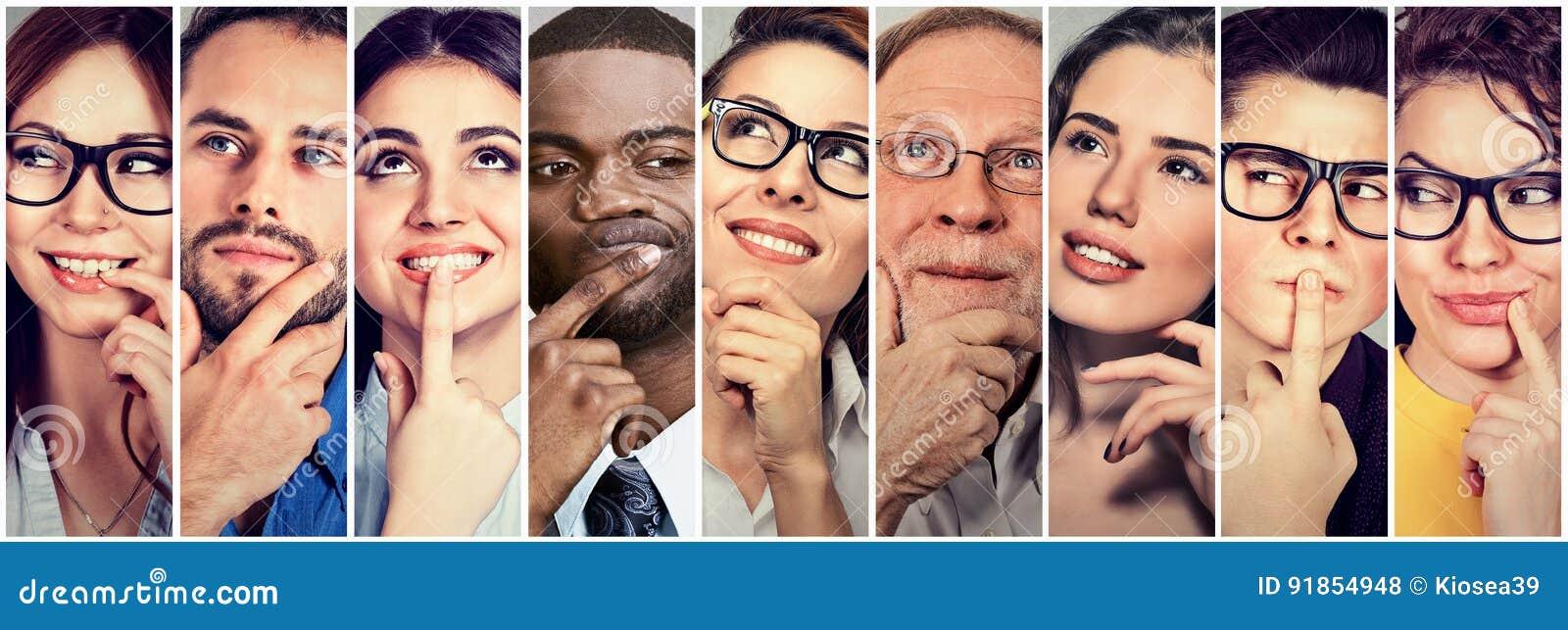Multiethnische Gruppe durchdachte Mannfrauen Leute ` s Gedanken