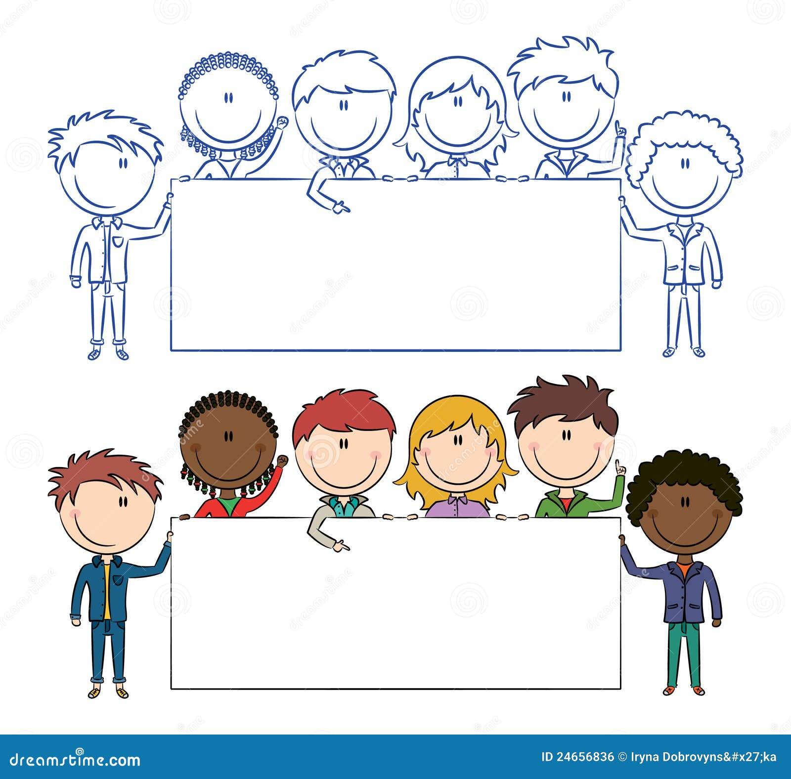 multiethnische kinder die fahnen anhalten vektor