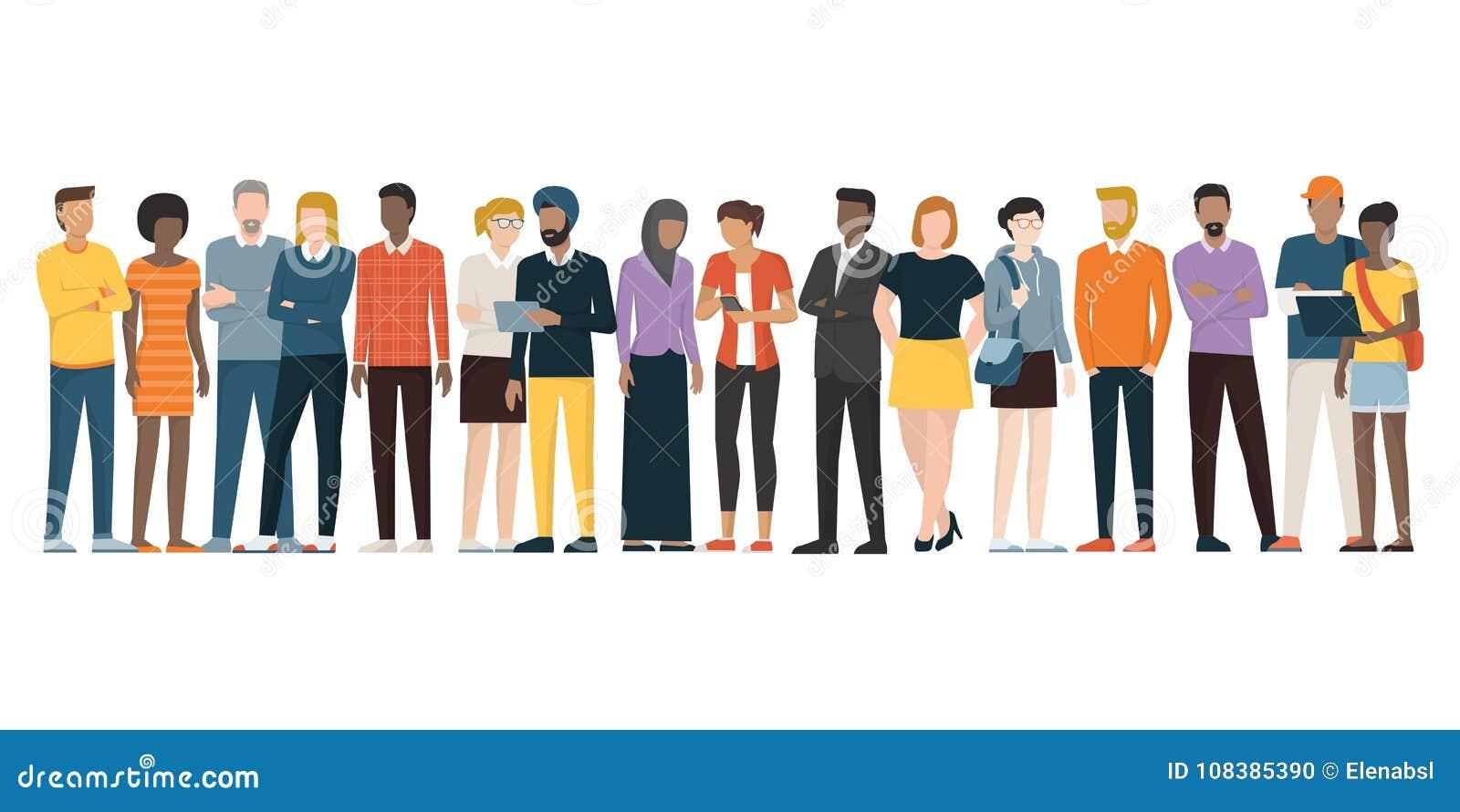 Multietnisk grupp människor