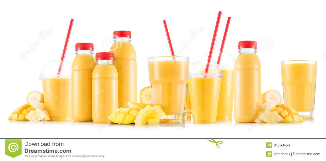 Multifruit smoothie in many kinds of glasses and bottles