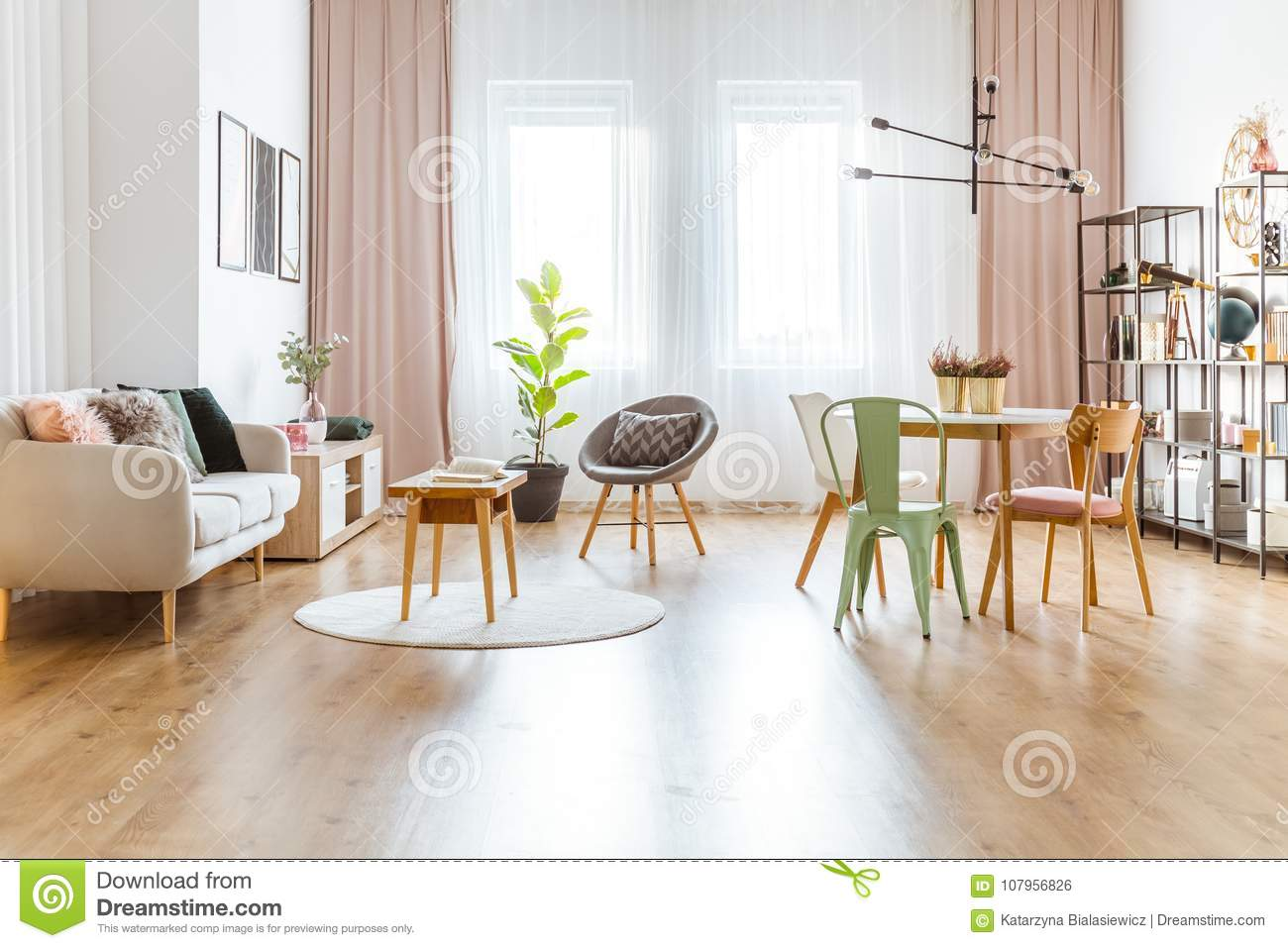 Multifunctional Living Room Interior Stock Photo - Image of lamp ...