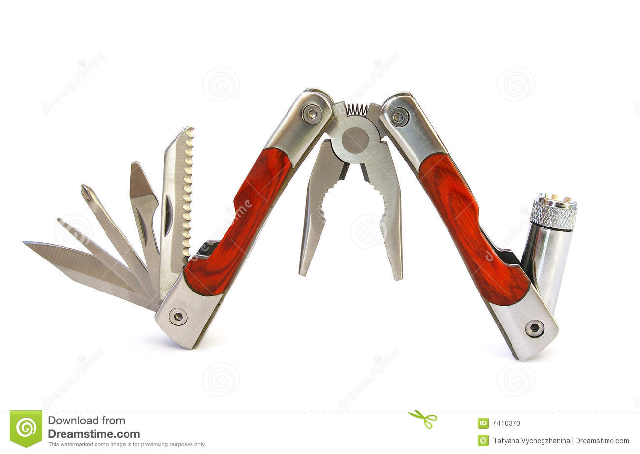 Multifunctional tool isolated on a white background.