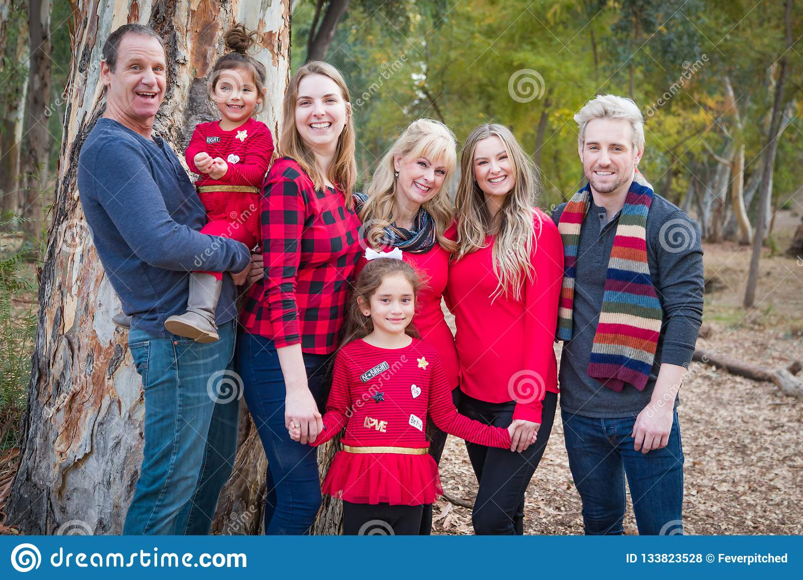 Attractive Multigenerational Mixed Race Family Portrait Outdoors