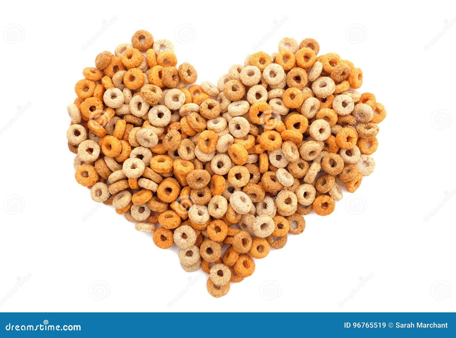 Multigrain hoops breakfast cereal heart
