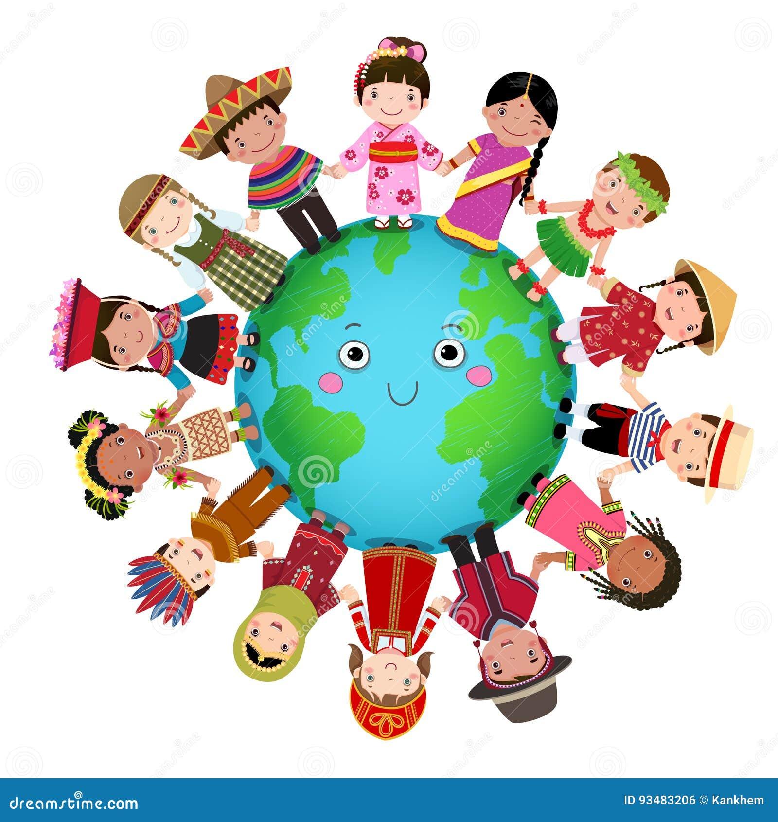 Multikulturelle Kinder, die auf der ganzen Welt Hand halten